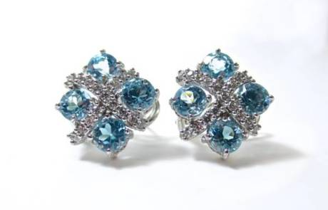 עגילי יהלומים בסגנון וינטאג'